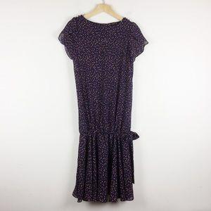 Vintage 80s 90s drop waist midi dress polka dots